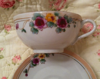 Cup and saucer, handpainted, 1940s, Japan, lustreware, teacup, china, Mother's Day, ECS