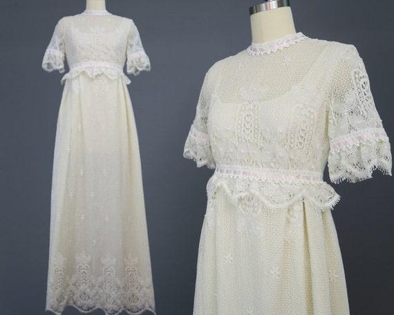 1960s bobbin lace empire waist wedding dress regency style for Regency style wedding dress