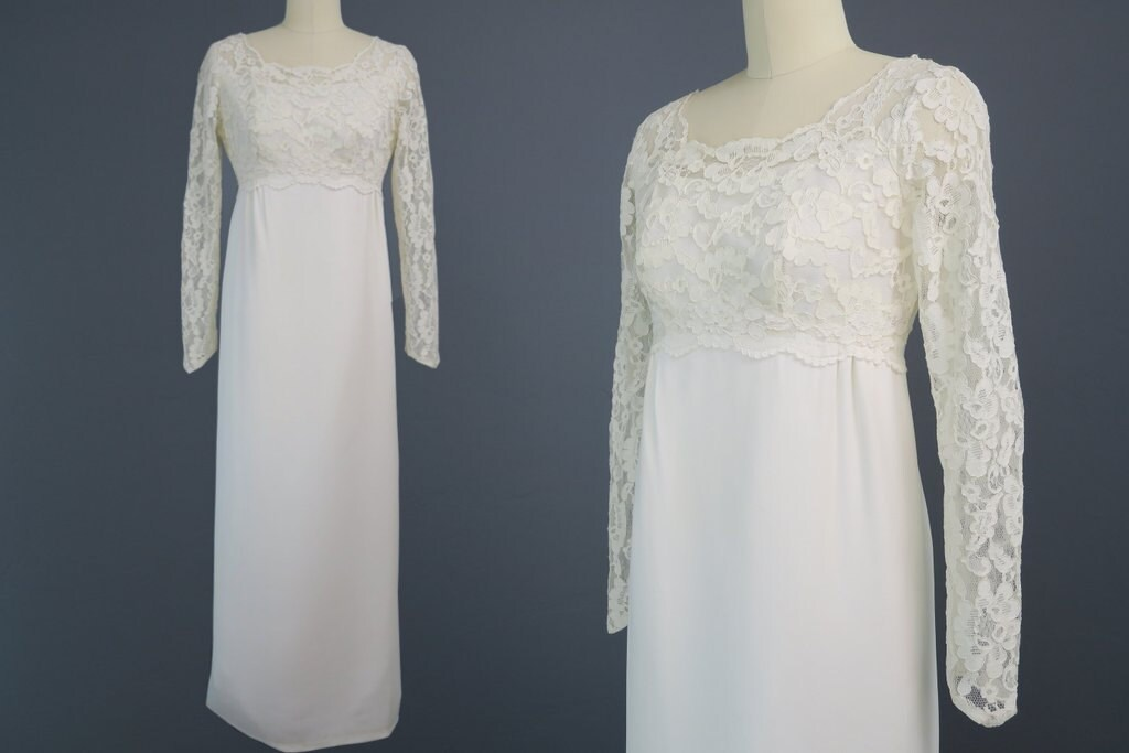 1960s Empire Waist Wedding Dress / Regency Style Bridal