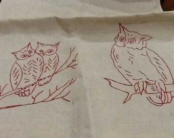 Vintage Owls Tea Towel Kitchen Towel Large Tea Towel Embroidered Red Work