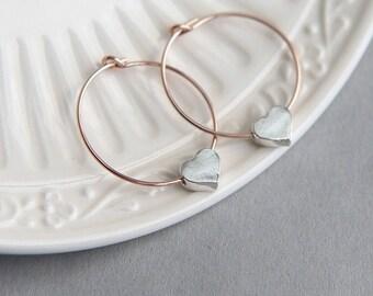 SALE, Hoop Earrings, Heart Earrings, Rose Gold Earrings, Sterling Silver Heart Earrings, Rose Gold Hoop Earrings, Love Earrings,Gift for Her