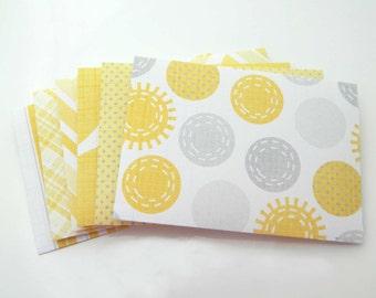 Paper Envelopes - Handmade Mini Envelopes. Set of 6 - Thank You Envelopes. Yellow Grey White Mustard Figures Envelopes, Party Bachelor Favor
