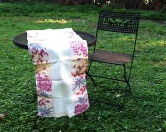 Floral bark cloth linen table runner