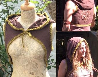 Pixie Hooded Waistcoat Vest, Appliqué Snug, Pixie Shrug