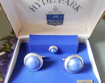 HYDE PARK New-Old-Stock Cufflinks Blue Cabochon in Silver Orig. Box    MBU27