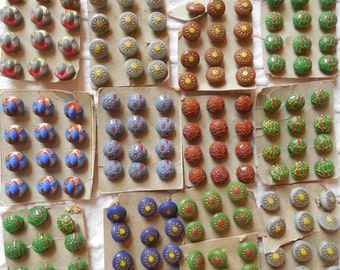 12 X 12 = 144 Vintage Czech Painted Glass Miniature Diminutive Buttons Unused on Cards