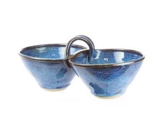 Two bowl condiment serving dish in Celestial Blue / attached sauce bowls / dual serving dish / hand thrown pottery bowls / double dipper
