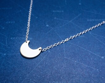 Tiny Crescent Necklace in Brass or Sterling Silver