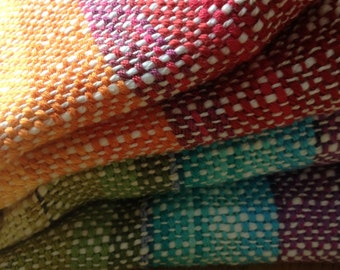 Custom Order Baby Blanket Rainbow, Handwoven, Organic Cotton Fleece or Boiled Wool ' Wollwalk'