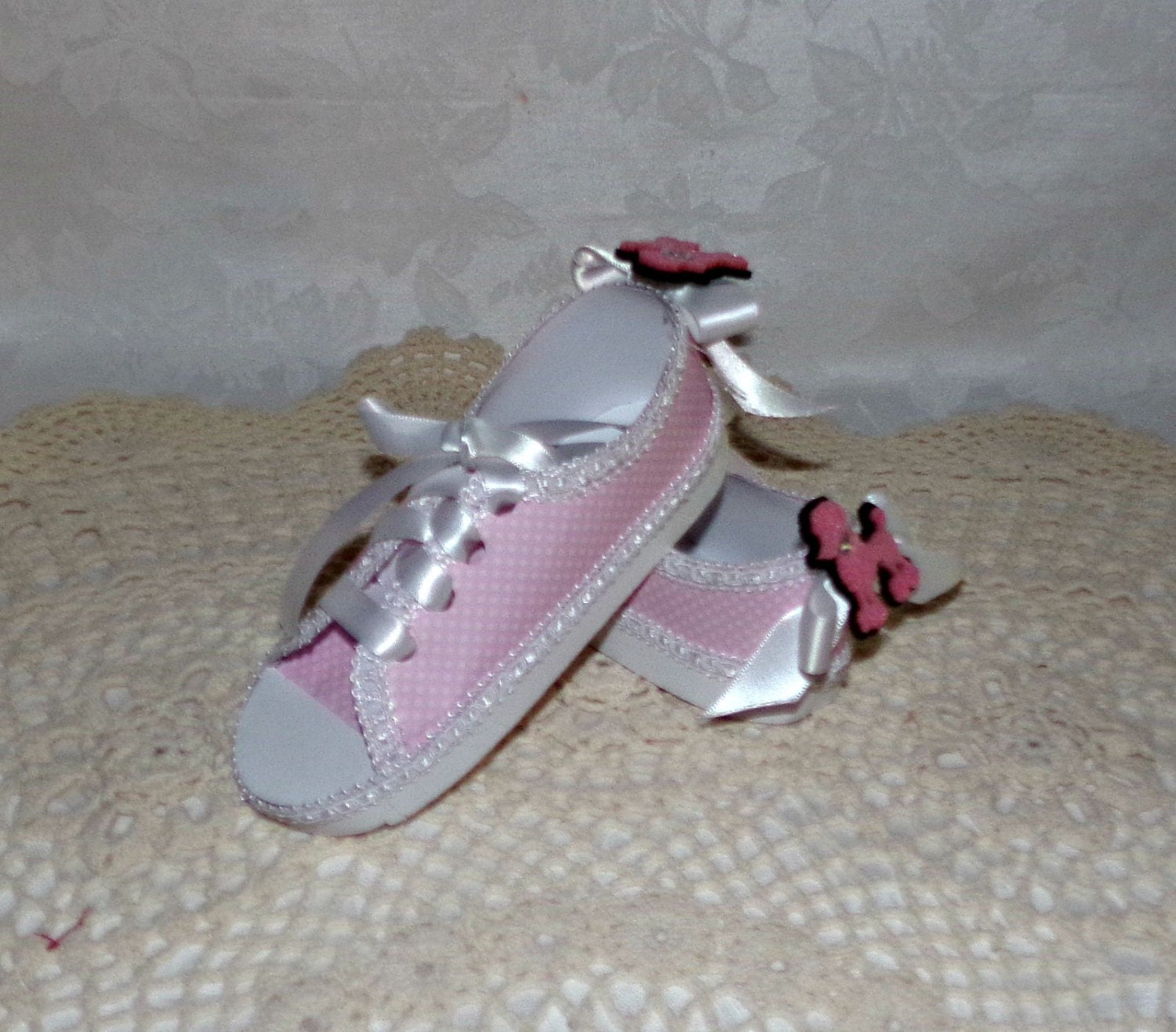 pink poodle polka dot paper tennis shoes pair ready to ship