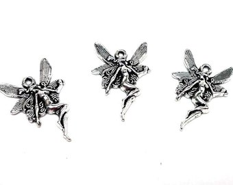 10pcs. Antique Silver Fairy Wings Woman Charms Pendants - 21 x 15mm