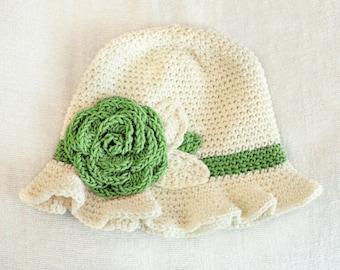 6 to 12m Crochet Sun Hat Green Flower Cloche, Cream Crochet Rose Flower Hat, Girl Baby Hat, Ruffle Flapper Hat Flower Girl Childrens Gift