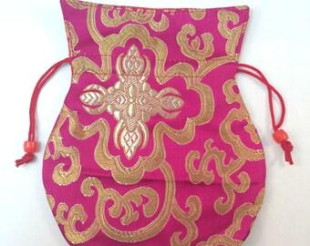 Handmade Silk mala Bag with draw String