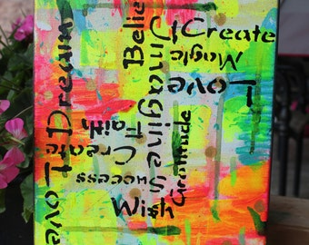 SALE** Positive Feelings abstract bright painting love dream believe art