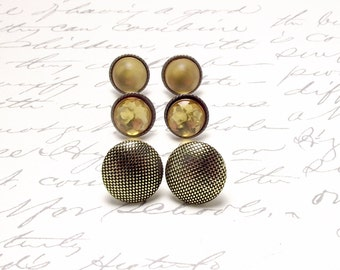 Gold Post Earring Set. Tiny Stud Earrings. Everyday Earrings Set. Resin Stud Earrings. Bridesmaids Earrings.