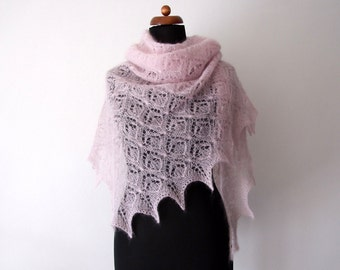 ON SALE 20% OFF bridal cover up, pink kidsilk wedding shawl, delicate silk mohair wrap, handknit