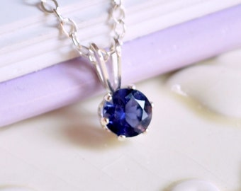 Water Sapphire Necklace, Iolite Jewelry, September Birthstone, Navy Blue Gemstone, Sterling Silver Children's Jewelry