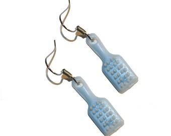 Vintage Pastel Blue Brush Earrings - vintage cracker jack earrings vintage plastic bell charm jewelry