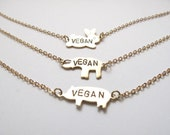 Vegan Necklace // 14kt Gold Chain Pig, Elephant, Rabbit, Necklace // Animal Rights // Pig Jewelry // Activist Jewelry // Freedom for ALL