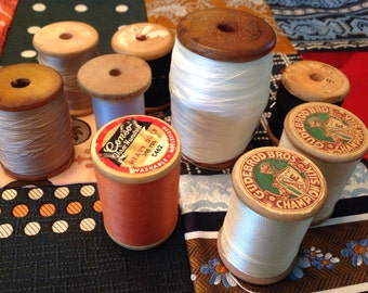 10 LARGE Vintage Wooden Thread Spools