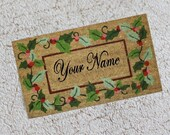 Miniature Christmas Doormat With Name or Words of Your Choice in Dollhouse or Playscale