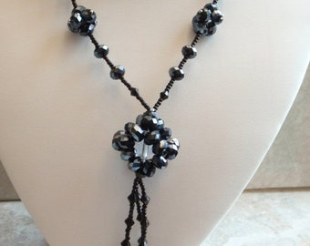 Black Beaded Lavalier Caged Bead Necklace Hand Beaded Vintage
