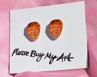 Angry Donald Trump Stud Earrings