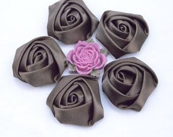 8 Dark brown roses / satin roses / ribbon flower / Satin Flowers / fabric flower / Dark brown Satin Rose Flowers 45x20mm