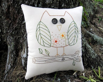 Owl Pillow, Hand Embroidered Owl Decor, Unique Whimsical Woodland Pillow, OOAK, Cute Owl, flowers leaves, Original Design, stitchery, HAFAIR