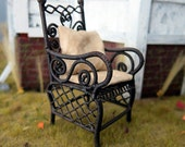 Rustic chair with worn out looking cushion and pillow - dollhouse miniature