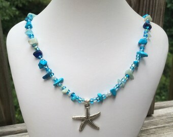 Ocean Blue Seed Bead and Gemstone Chip Silver Starfish Pendant Necklace