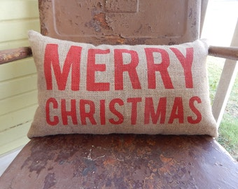 MERRY CHRISTMAS Festive Bold Pillow Burlap Pillow Throw Accent Pillow Custom Colors Available Hostess Gift Home Decor
