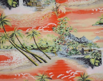 Vibrant Orange Waterfall Tropical Print Pure Cotton Fabric--One Yard