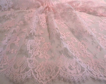 Elegant Baby Pink  Floral Design French Chantilly Lace Fabric--One Yard