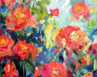 Climbing Roses Large Original Landscape Painting canvas art  24 x 36 Art by Elaine Cory