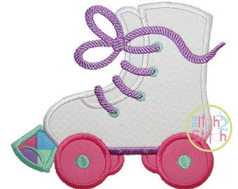 "Roller Skates Applique Design, Shown with our ""Bridgetown"" Font NOT Included, Hoop Size(s) 4x4, 5x7 & 6x10 Instant Download"