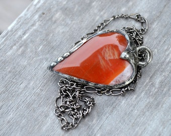 Agate Jewelry, Heart Gemstone, Elongated Heart, Agate Heart, Gemstone Jewelry, Valentines Day, Gift Idea, Romantic Heart Necklace (#2302)