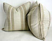 Free shipping, Pair of Natural Linen Stripe Pillow Covers in Jute, Throw Pillow Covers, Accent Pillow Covers