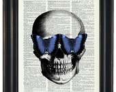BOGO SALE Skull With Blue Butterfly Glasses Art Prints with HHP Original Design Wall Decor Steampunk Art Print Dictionary Prints