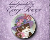 Handpainted Button - Victorian Cat in her bonnet