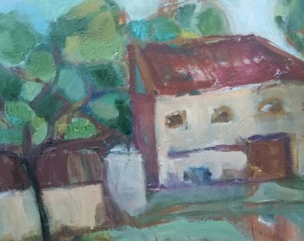 Old house oil painting- Original oil painting on canvas- 16 ×20 inches- not framed