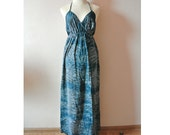 Maxi dress,Tribal Maxi Dress,Summer Dress,high slit dress,boho dress,halter dress,Medium to Large dress