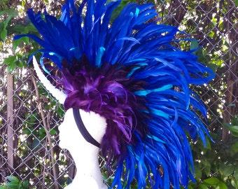 Unicorn Horn Mane Headdress- Feather Mohawk, Unicorn, Costume, Burning Man, Halloween