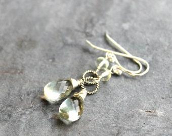 Prasiolite Earrings Green Amethyst Earrings Dangle Sterling Silver Delicate