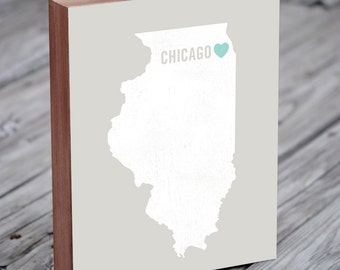 Chicago Wall Art, Chicago Art, Chicago Art Print, Wood Block Art Print