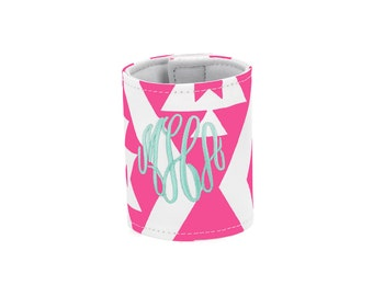Personalized Monogrammed Hot Pink Aztek wrap Can Cooler--Free Monogramming--Fast Turnaround