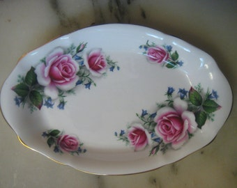 Vintage China, 1960s Royal Albert Bone China, Oval White Plate/Tray with Pink Roses, Gold Leaf Trim, Made in England, 8 x 5""