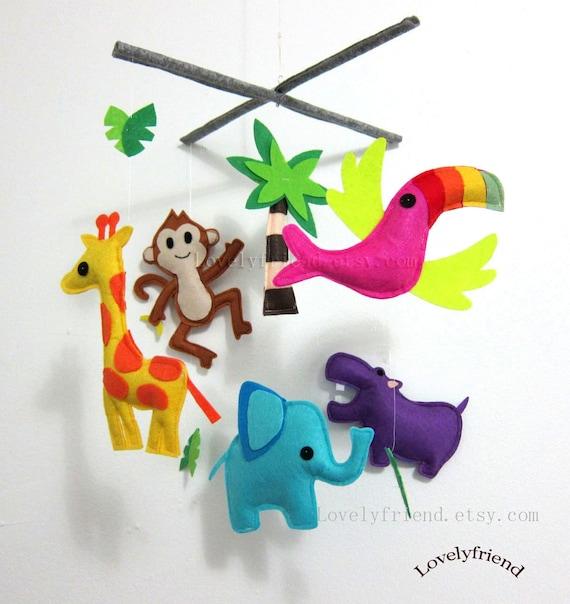 "Nursery Decor-Baby Mobile - Jungle Animal Crib Mobile - Elephant baby crib mobile -  ""giraffe, elephant, hippo, monkey"""