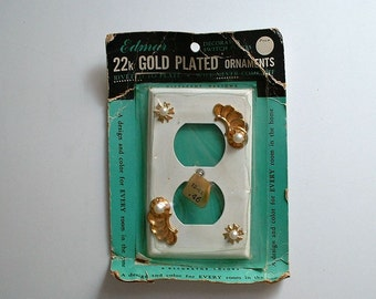 Vintage Outlet Cover 22k Gold Plated Ornaments Faux Pearl  Electrical Plate Atomic Mid Century Edmar Hardware