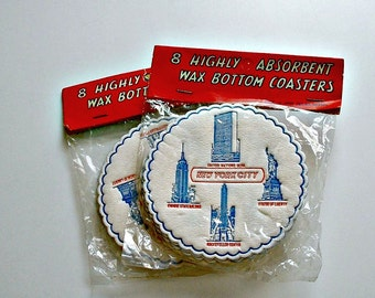 16 Coasters New York City Vintage Drink Coasters 2 Packages New Old Stock Souvenir  Mid Century Made In Japan